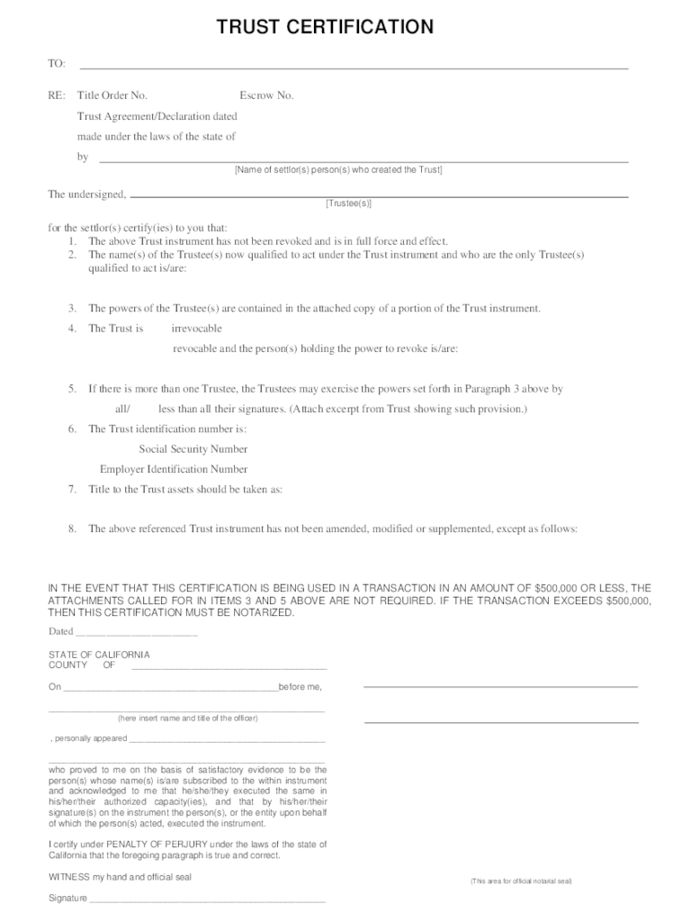 Certification Of Trust Form 3 Free Templates In PDF