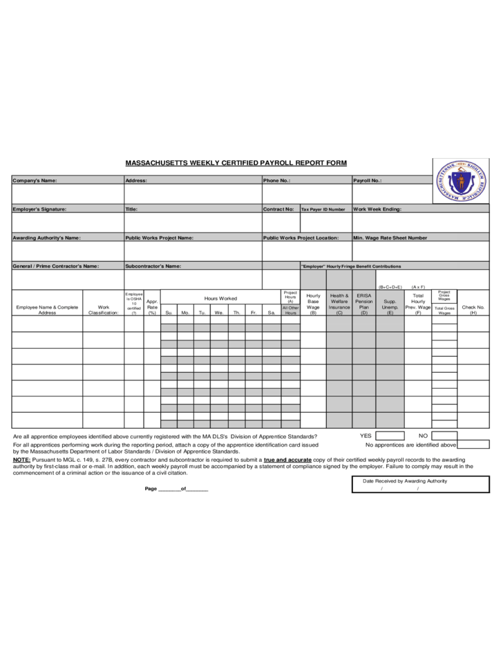 Massachusetts Weekly Certified Payroll Report Form Free