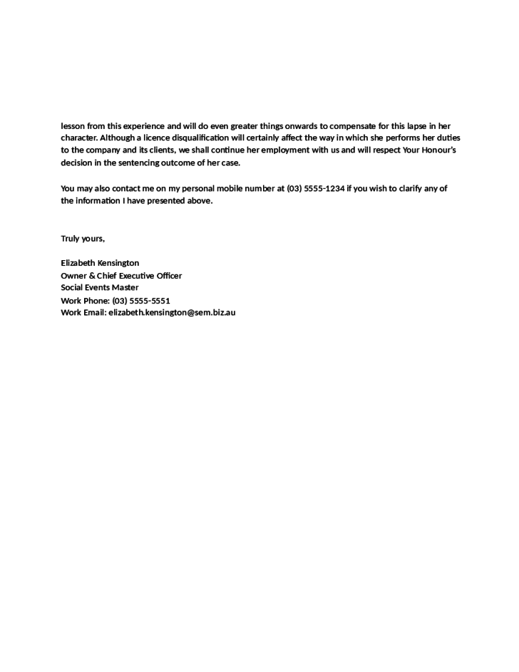 Sample Character Reference Letter for Court by an Employer