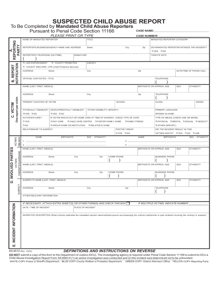 Child Abuse Report Sample Form Free Download