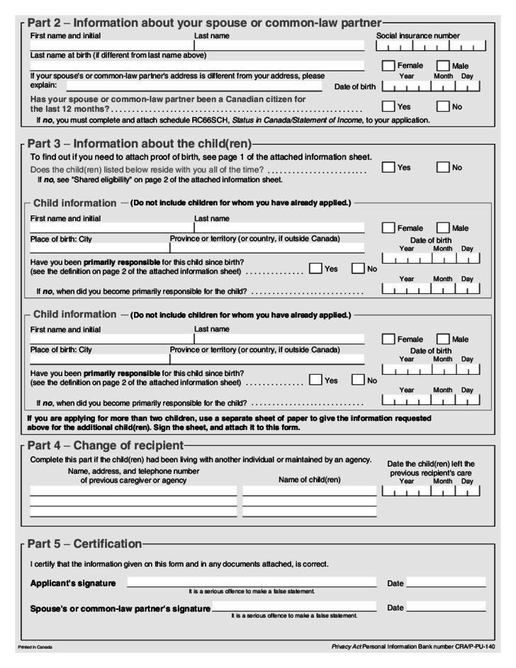 Child Benefit Application Form Canada Free Download