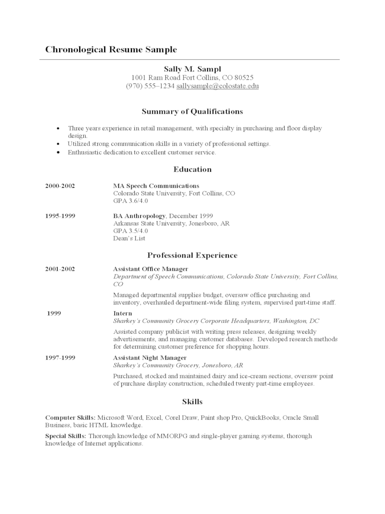 resume chronological template with color