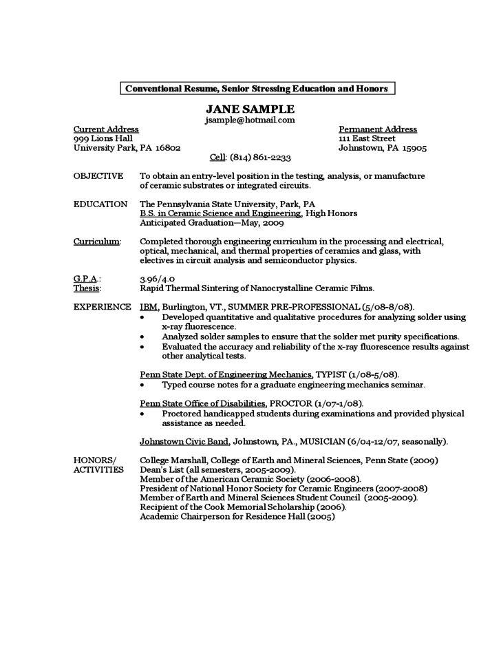 Sample Resume by a FirstYear Student Free Download