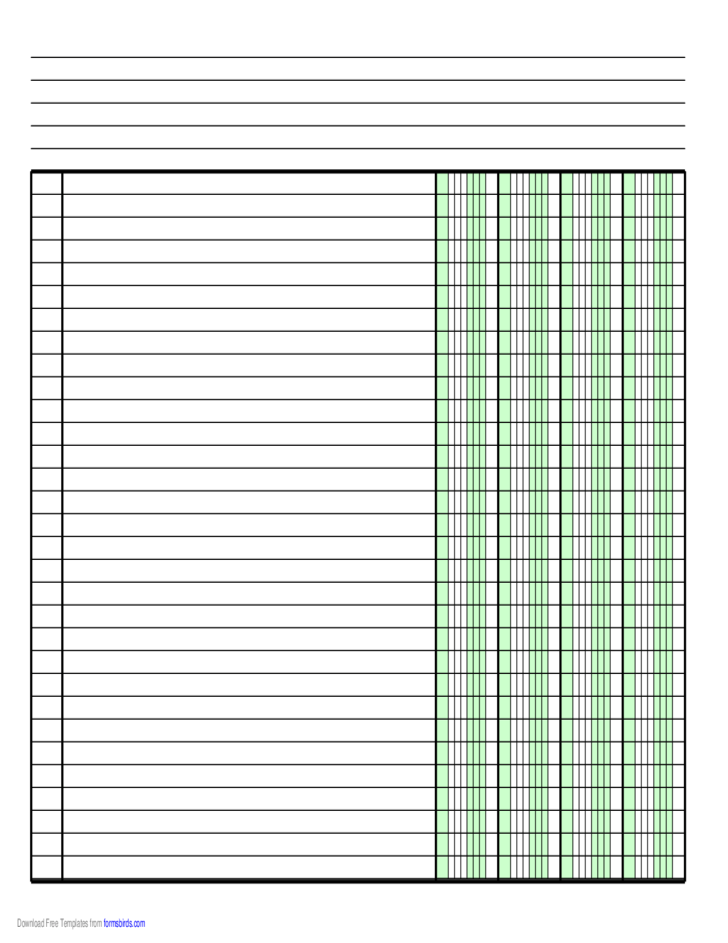 Columnar Paper with Four Columns on A4Sized Paper in