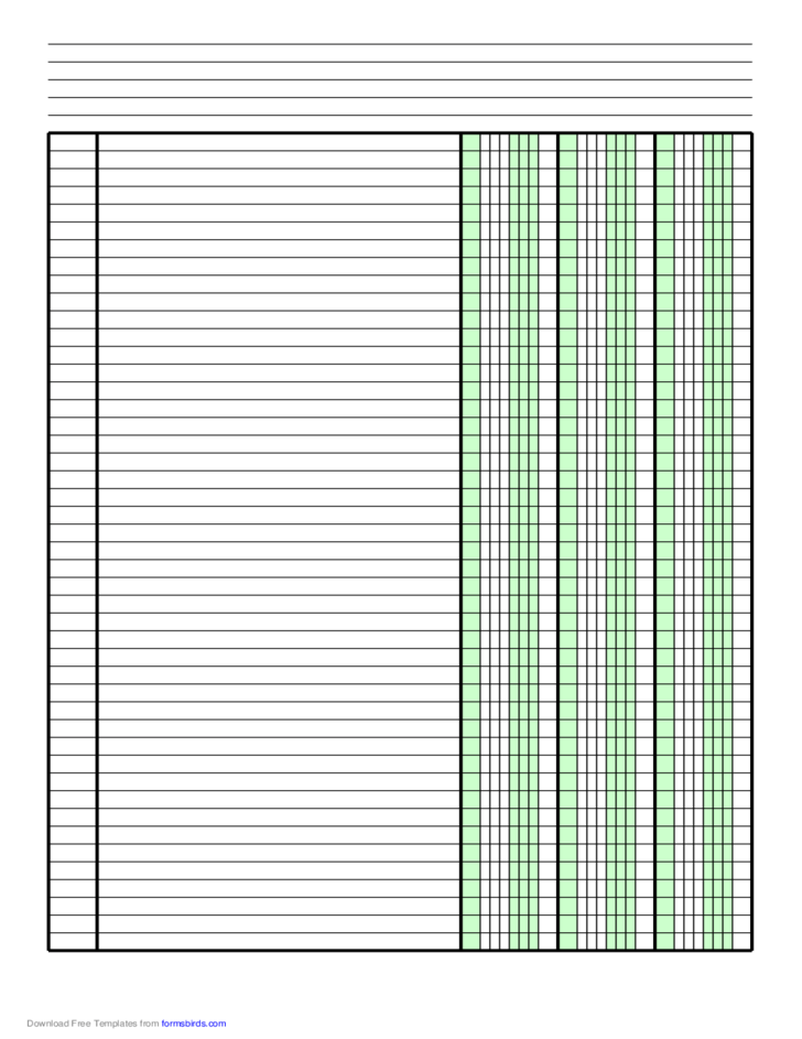 Columnar Paper With Three Columns On A4 Sized Paper In
