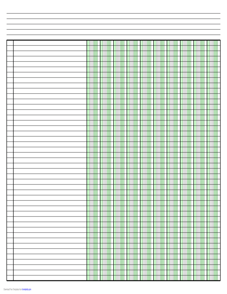 Columnar Paper With Ten Columns On Ledger Sized Paper In