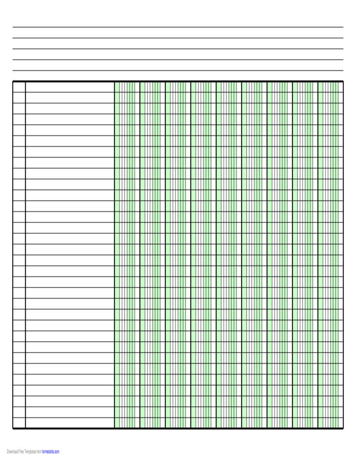 Columnar Paper with Nine Columns on LegalSized Paper in Landscape Orientation Free Download