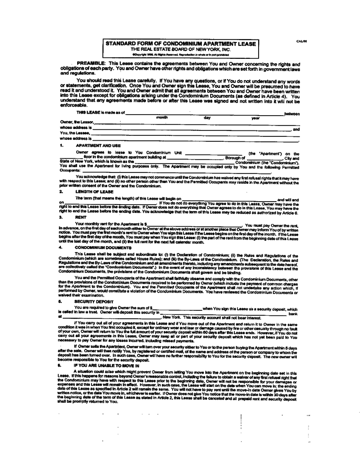 lease agreement form free printable