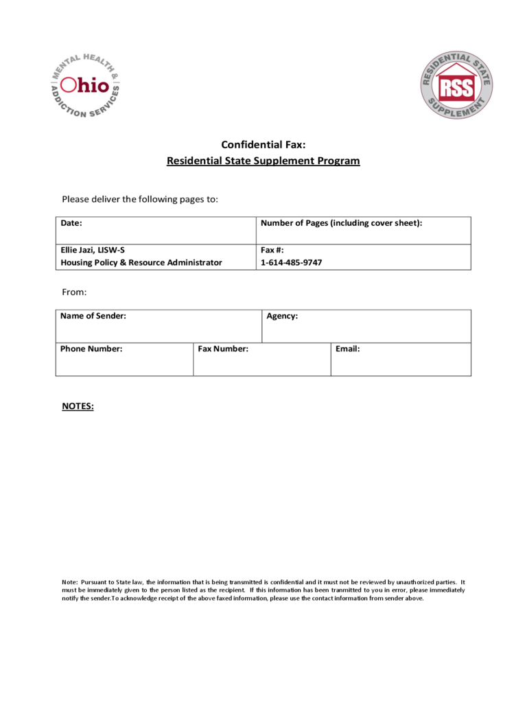 Confidential Fax Cover Sheet - Ohio Free Download
