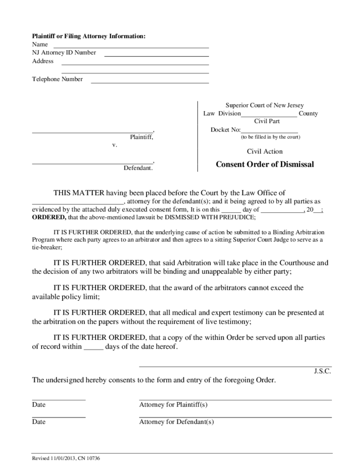 Consent Order Of Dismissal New Jersey Free Download