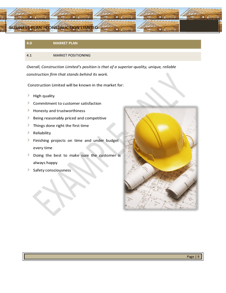 Strategic Business Plan Template for Construction Free