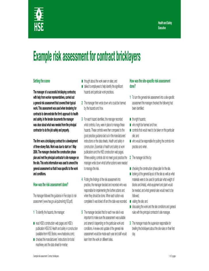 Example Risk Assessment For Contract Bricklayers HSE For