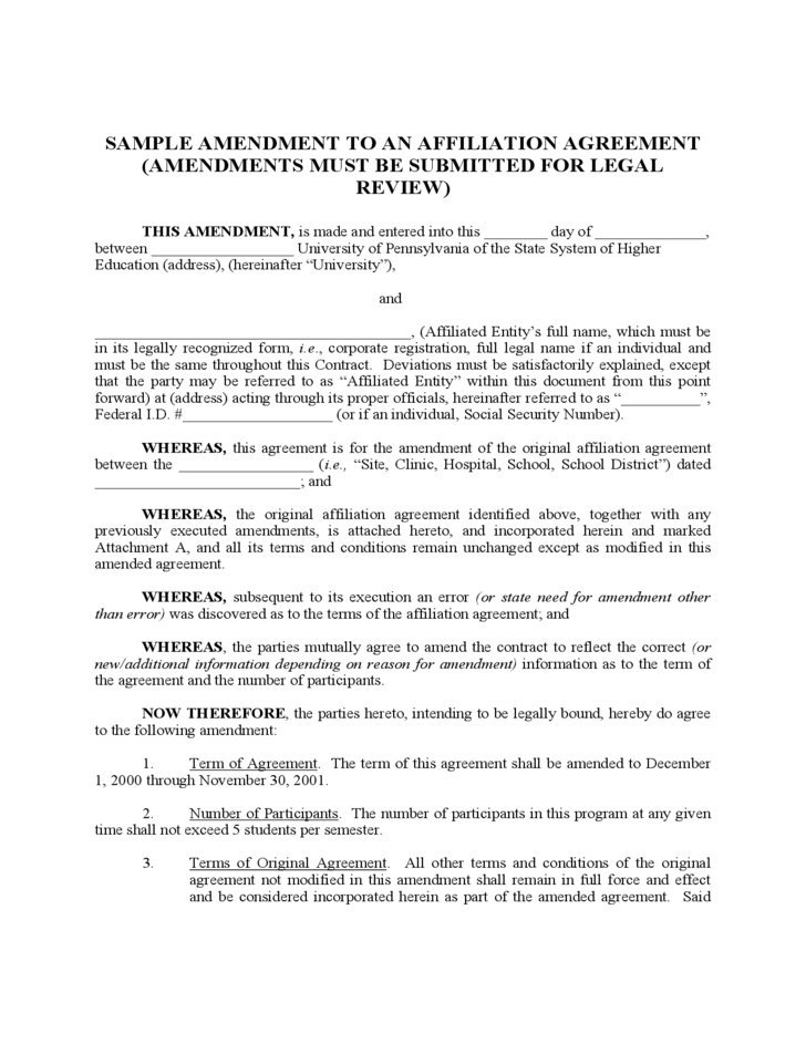 Sample Amendment To An Affiliation Agreement Free Download
