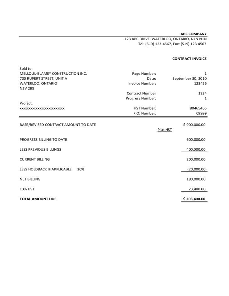 Contractor Invoice Template Sample Free Download