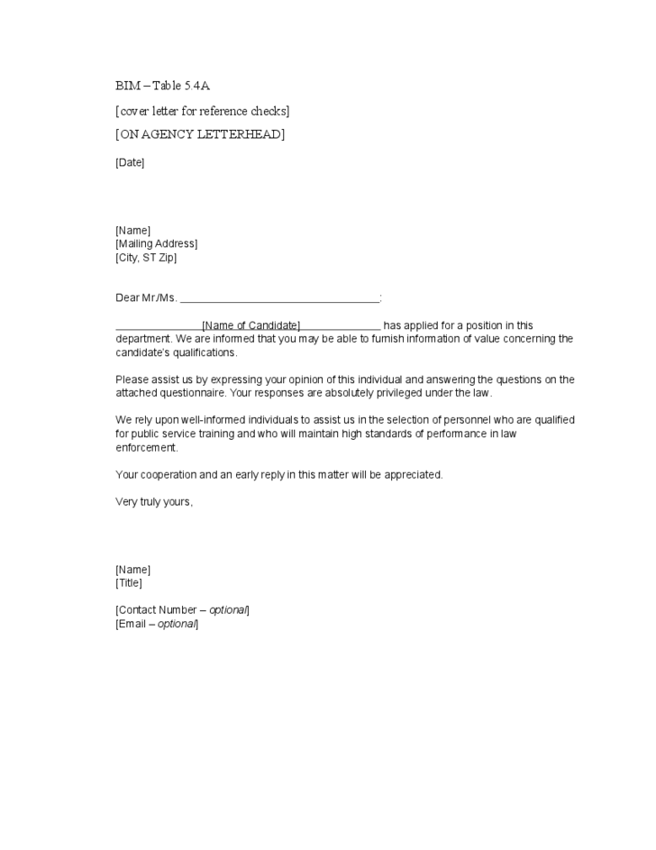 Cover Letter for Reference Checks Free Download