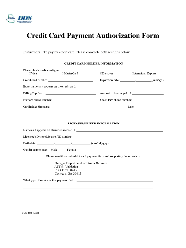 Credit Card Authorization Form - 6 Free Templates in PDF, Word ...