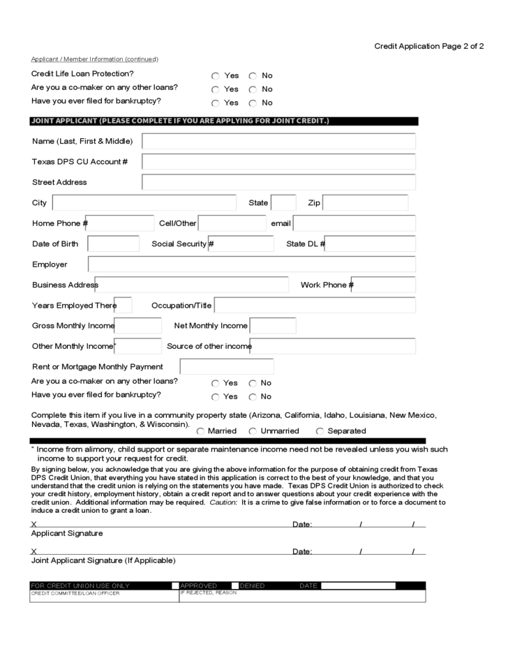 Credit Union Loan Application Sample Form Free Download