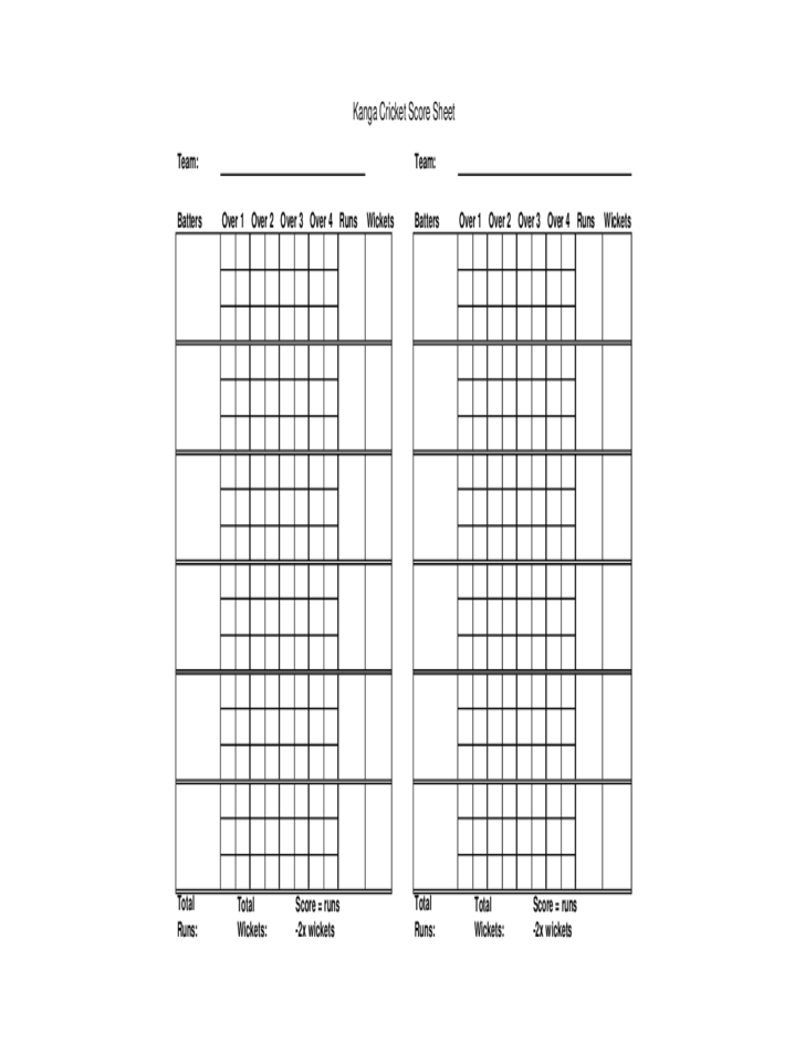 Blank Cricket Score Sheet Free Download