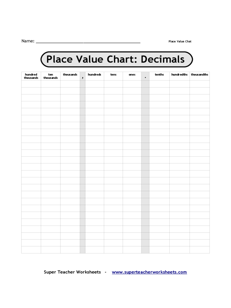 Decimal Place Value Chart 3 Free Templates In PDF Word