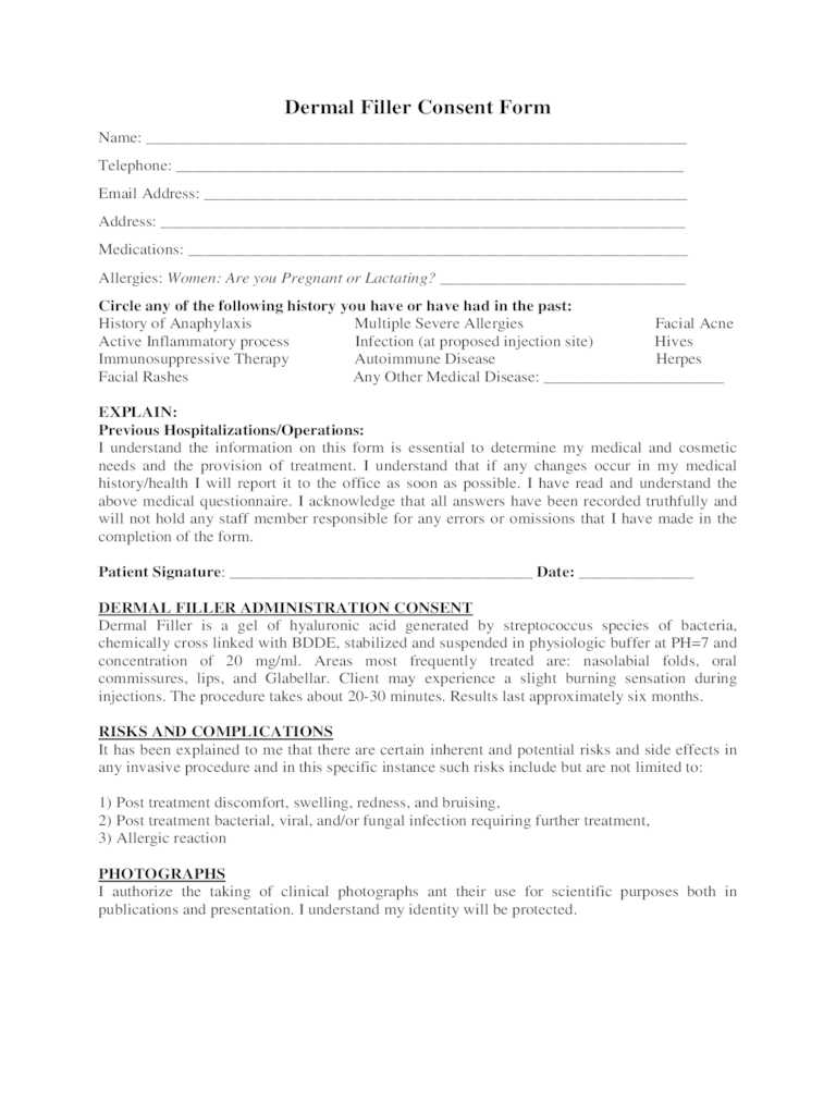 Informed Consent Form For Dermal Filler Free Download - Resume