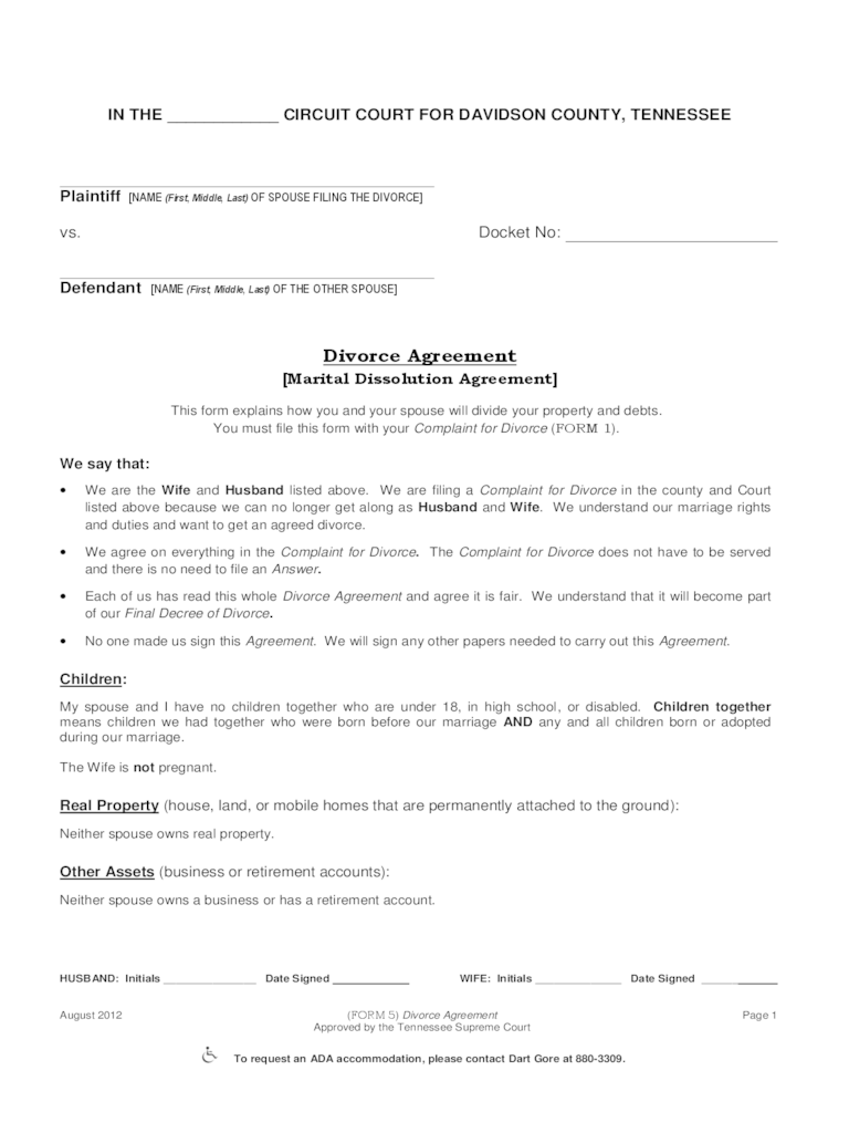 Tennessee Divorce Forms Free Templates In PDF Word