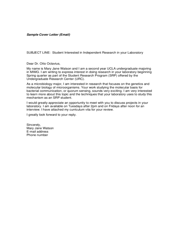 Email Cover Letter Sample Free Download
