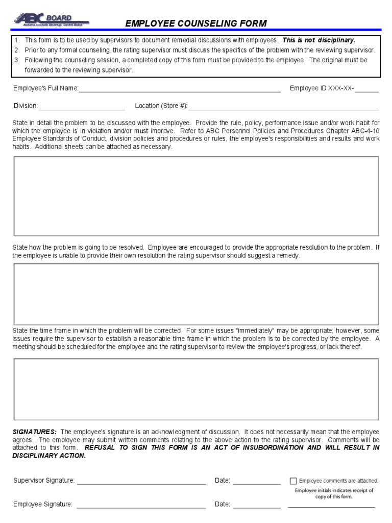 General Employee Counseling Form