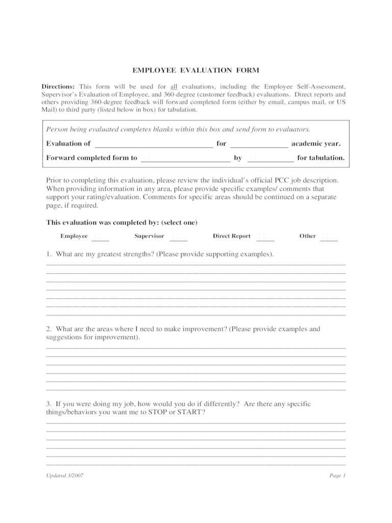 Employee Feedback Form 1 Free Templates In PDF Word