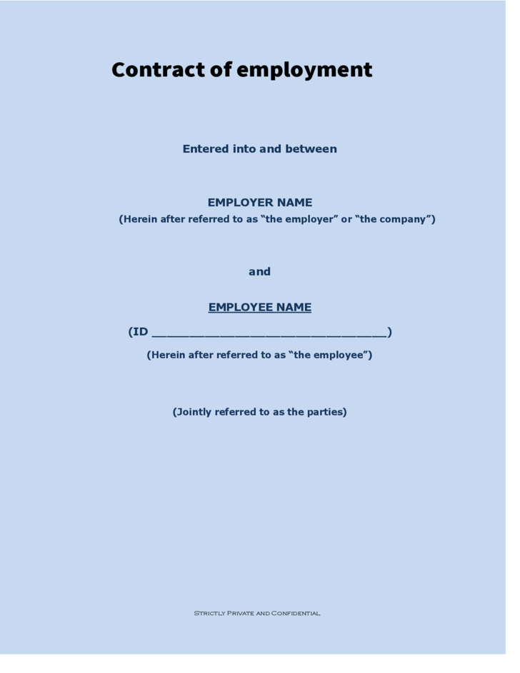 Contract Of Employment Free Download