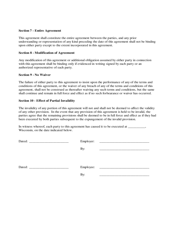Employee Contract Form  Wisconsin Free Download