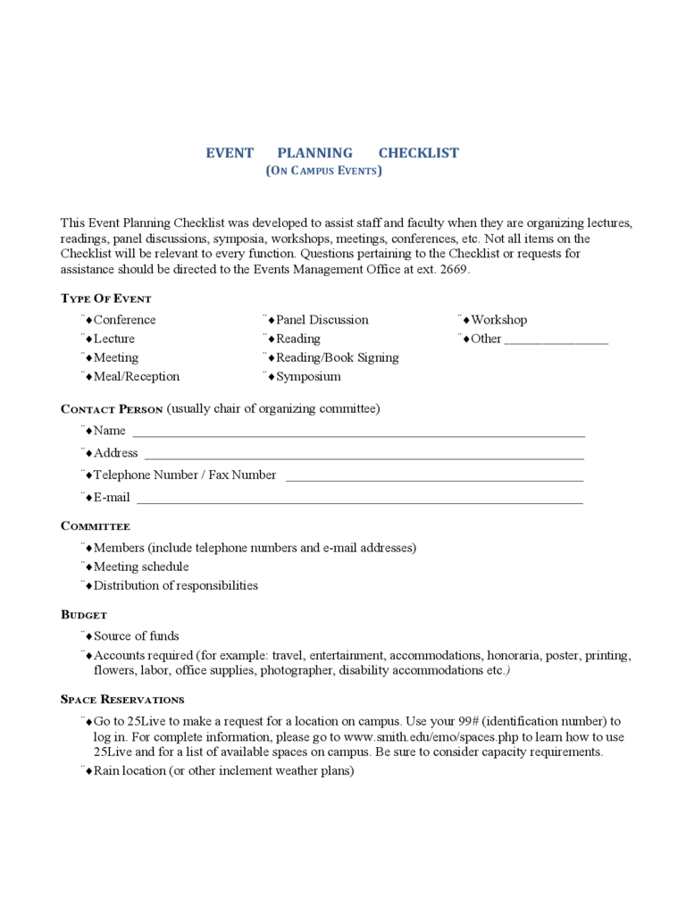 Use this handy conference room equipment checklist to start your meetings on time and keep them running smoothly. Event Planning Checklist Template 2 Free Templates In Pdf Word Excel Download