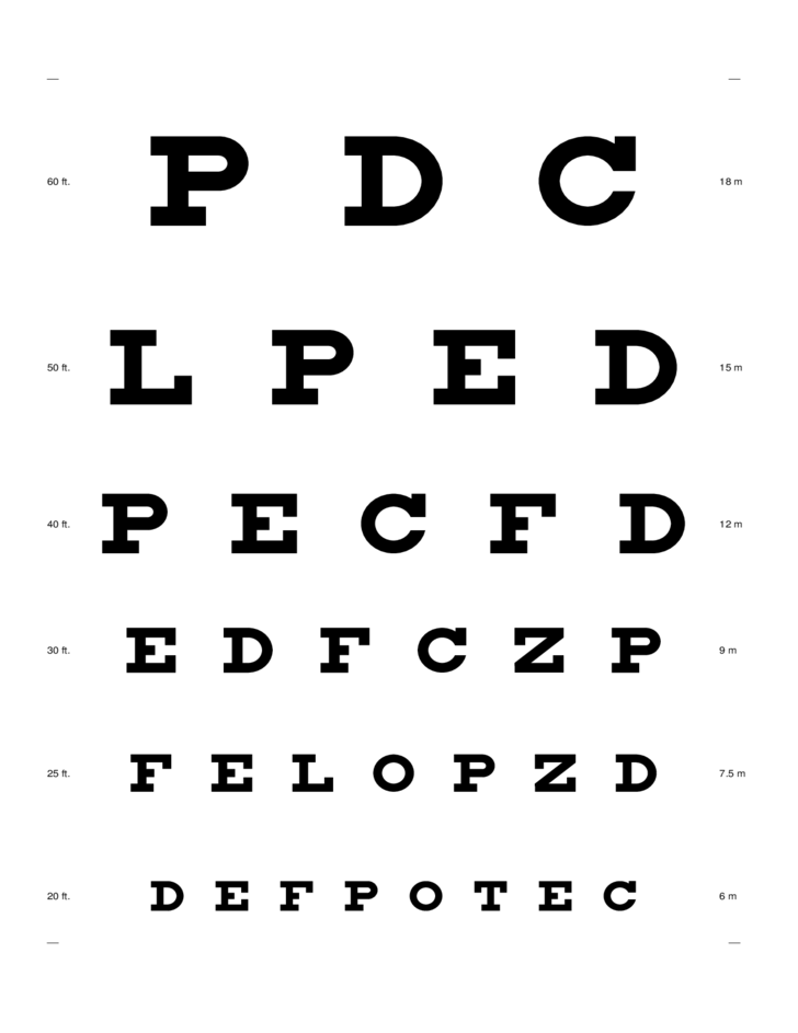 Eye Chart Sample Free Download