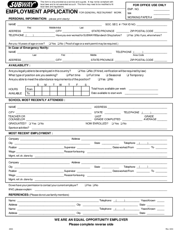 Subway Employment Application Form Free Download