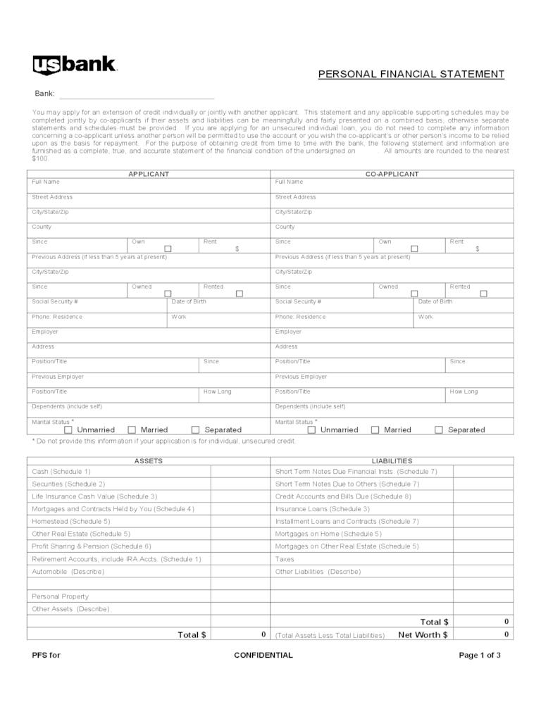 personal financial statement forms templates