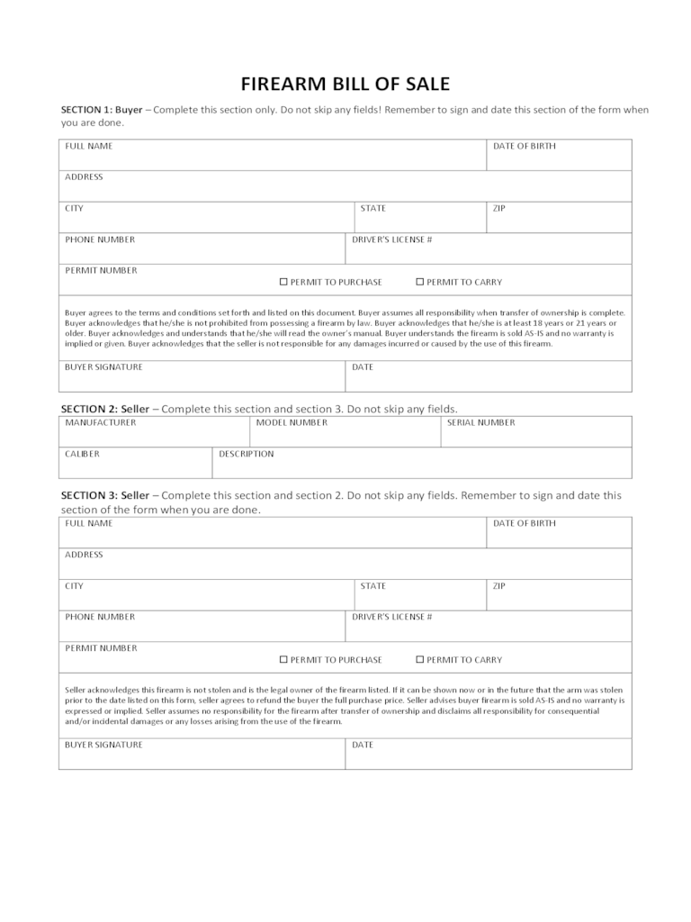 bill of sale form free