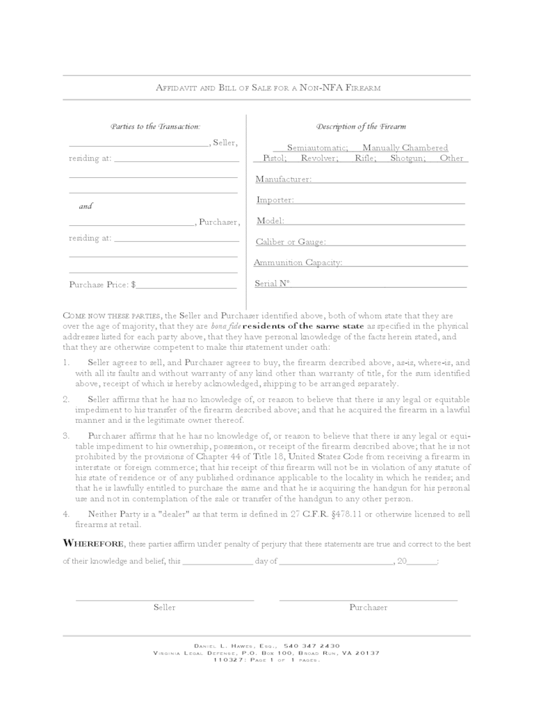 Firearm Bill Of Sale Form - Virginia