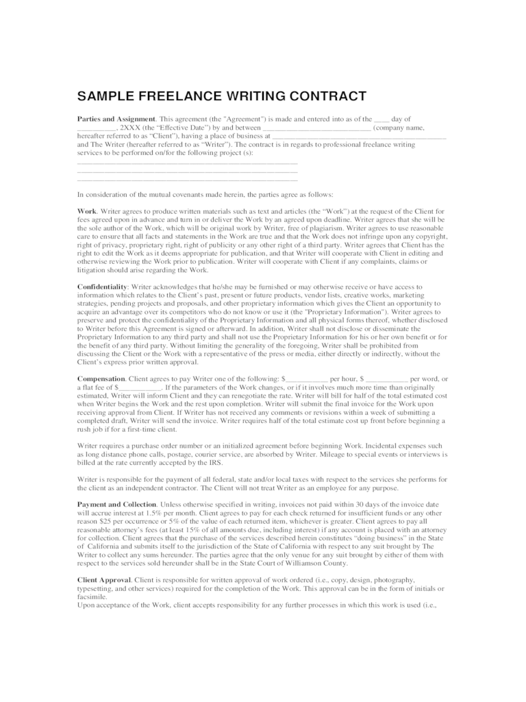 Freelance Contract Template  6 Free Templates in PDF Word Excel Download