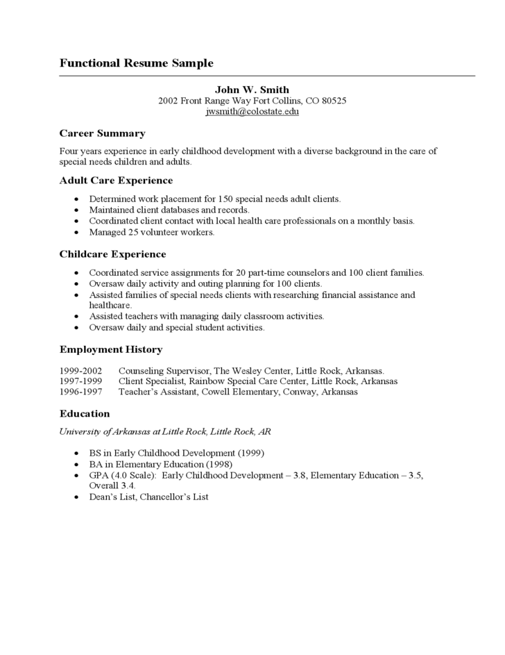 Basic Functional Resume Sample Free Download