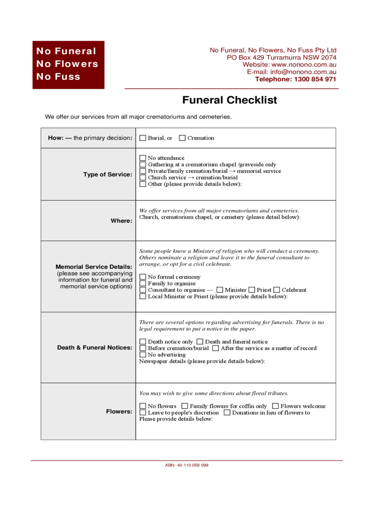 Funeral Checklist Template  2 Free Templates in PDF Word