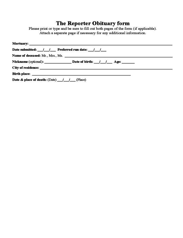 The Reporter Obituary Form Free Download