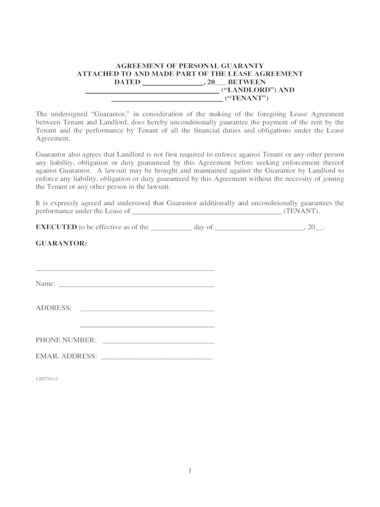 Agreement Of Personal Guaranty