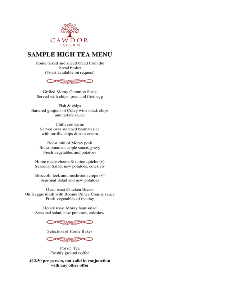 High Tea Menu Template And Design Free Download