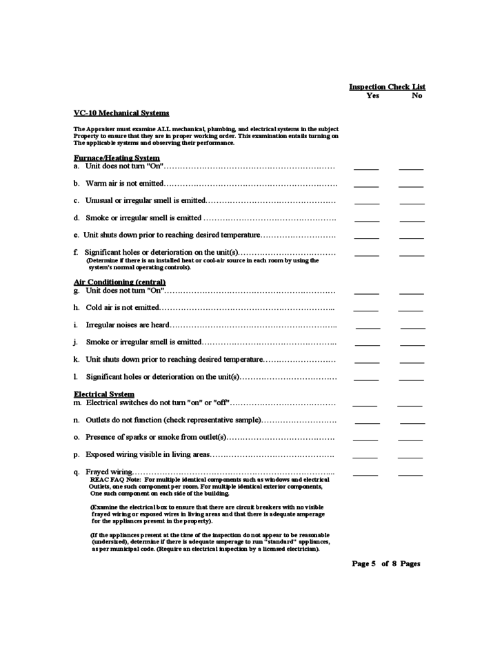 FHA Inspection Checklist Template Free Download