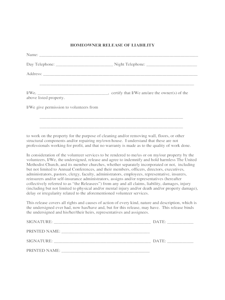Homeowner Liability Waiver Form 2 Free Templates In PDF