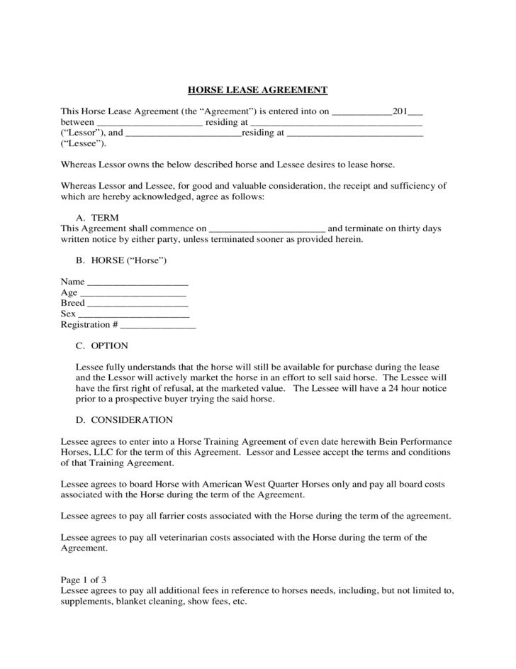 Free Lease Agreement Template Horse Resume Sample Download