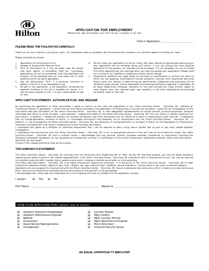 Hilton Job Application Form for Employment Free Download