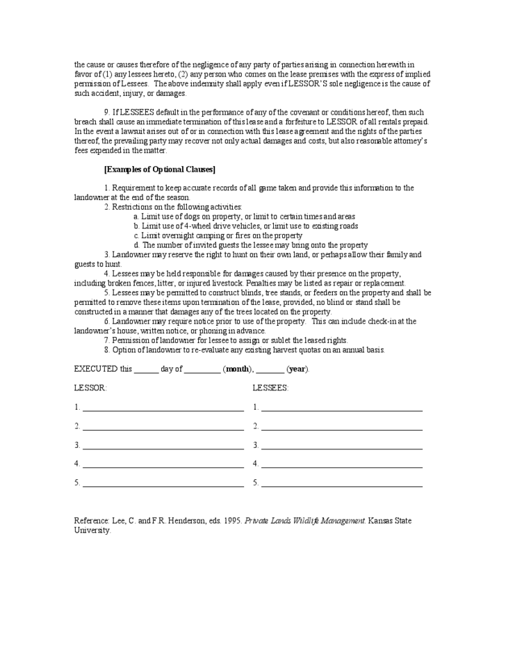 Hunting Rental and Lease Form  Kansas Free Download