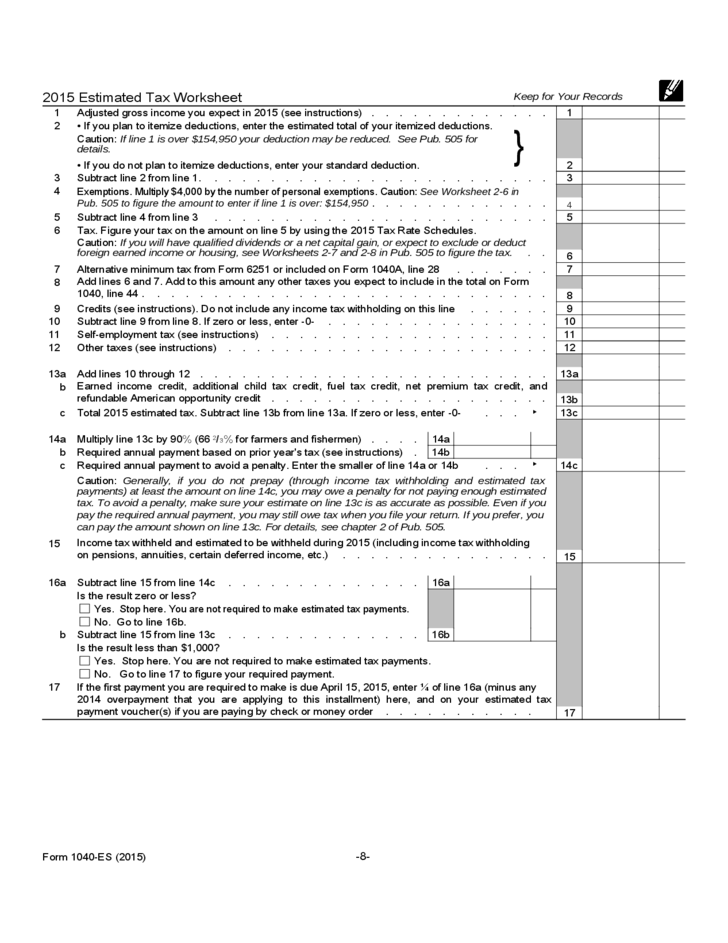 Form Es Estimated Tax For Individual Free Download
