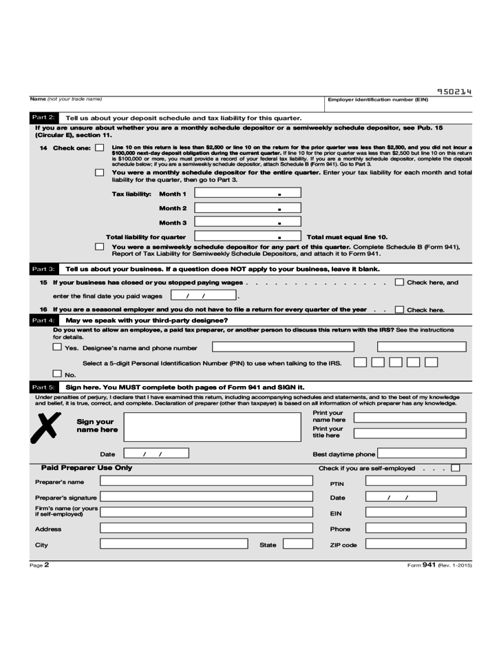 Tax 941 Instructions