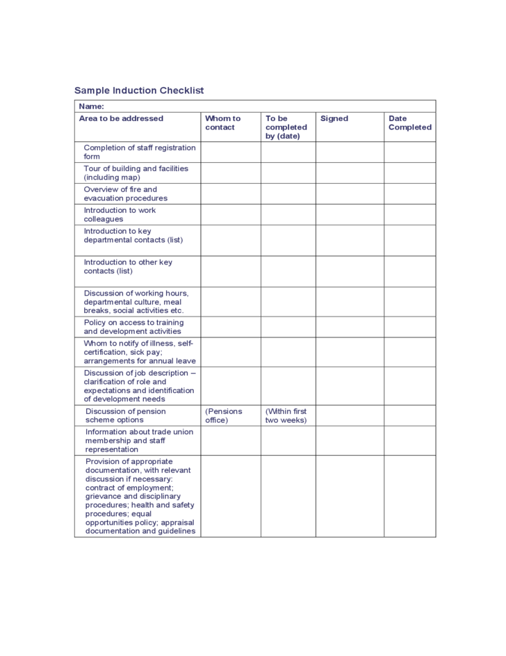 Sample Induction Checklist Free Download